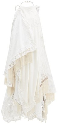 Marine Serre Halterneck Lace-trimmed Upcycled-cotton Dress - White