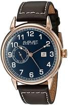 August Steiner Men's AS8182RGBR Rose Gold Multifunction Quartz Watch with Blue Dial and Brown with White Stitching Leather Strap