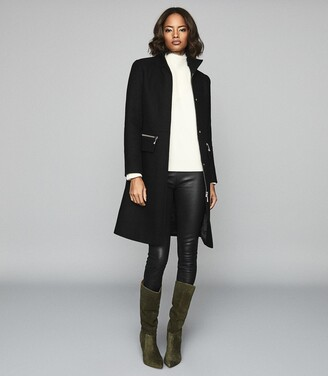 Reiss Macey - Wool Blend Funnel Neck Coat in Black