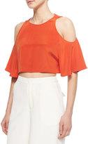 Elle Sasson Teresa Cold-Shoulder Crop Top, Orange