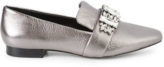 Karl Lagerfeld Paris Nyra Embellished Metallic Leather Loafers