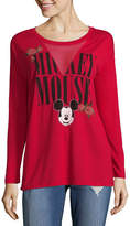 Freeze Long Sleeve V Neck Mickey Mouse Graphic T-Shirt-Juniors