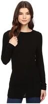 Michael Stars 2X1 Rib Long Sleeve Crew Neck (Black) Women's Clothing