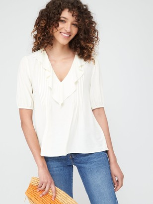Warehouse Ruffle Pintuck Top - Ivory