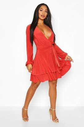 boohoo Wrap Front Tiered Slinky Skater Dress