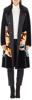 Marc Cain Faux Fur Floral Print Coat, Black
