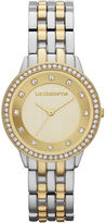 Liz Claiborne Womens Two-Tone Crystal-Accent Bracelet Watch