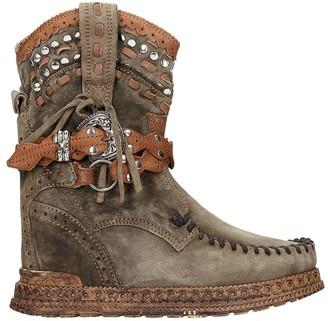 EL VAQUERO Yara Low Heels Ankle Boots In Green Suede