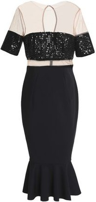 Rachel Gilbert Fluted Sequined Tulle And Ponte Midi Dress