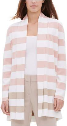 Calvin Klein Striped Open-Front Cardigan