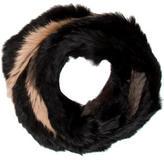 Jocelyn Striped Knitted Fur Scarf w/ Tags