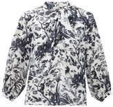 Erdem Arlette Frida Toil De Jouy-print Silk Blouse - Womens - Blue White
