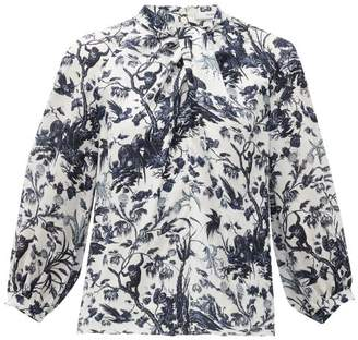 Erdem Arlette Frida Toil De Jouy-print Silk Blouse - Womens - Blue White