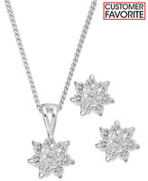 Charter Club Silver-Tone Starburst Pendant Necklace and Stud Earrings Jewelry Set