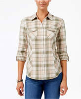Style&Co. Style & Co Plaid Roll-Tab-Sleeve Cotton Shirt, Created for Macy's