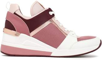 MICHAEL Michael Kors Georgie Mesh-paneled Metallic-trimmed Leather Wedge Sneakers