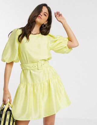 Vero Moda shiny smock dress with puff sleeves and removable belt in yellow