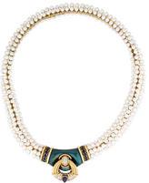 Harry Winston 18K Pearl, Diamond & Sapphire Necklace