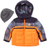 London Fog Orange Color Block Puffer Coat & Beanie - Infant Toddler & Boys
