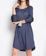 Blu Heaven Navy Ruffle-Sleeve Scoop Neck Shift Dress