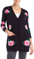 RD Style Rose Print Knit Cardigan