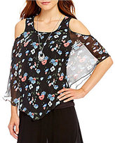 I.N. Studio Floral Print Scoop Neck 3/4 Sleeve Cold-Shoulder Top