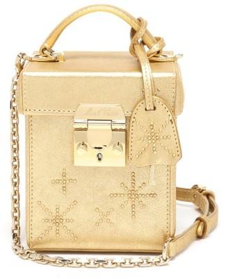 Mark Cross Grace Cube Crystal-embellished Leather Handbag - Gold
