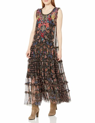 Johnny Was Biya by Women's Sleeveless Patterned and Embroidered mesh Dress