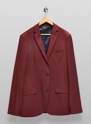 Topman BIG & TALL Burgundy Single Breasted Suit Blazer With Notch Lapels*