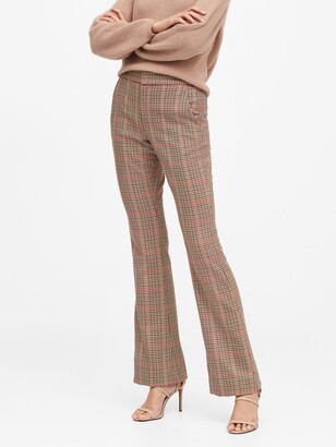 Banana Republic High-Rise Flare Plaid Pant