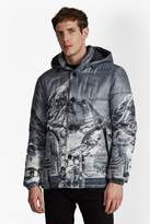 French Connection Mountain Pass Print Padded Jacket