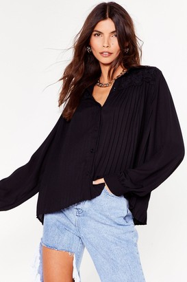 Nasty Gal Womens Get a Move On Pleated Button-Down Shirt - Black - 4, Black