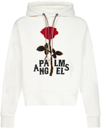 Palm Angels Rose Logo Cotton Hoodie