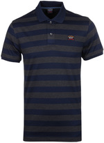 Paul & Shark Navy & Charcoal Striped Pique Polo Shirt