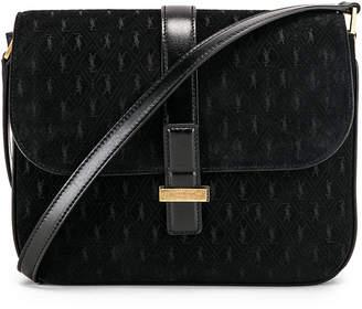 Saint Laurent Suede Monogramme Small Satchel Bag in Black   FWRD