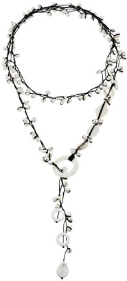 Aeravida Handmade Pretty White Pearl Quartz Mother of Pearl Long Wrap Necklace