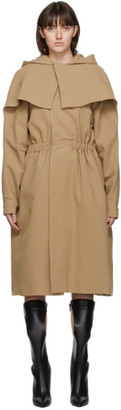 Vejas Beige Hooded Cape Coat