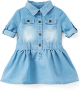 Dollhouse Light Blue Wash Chambray A-Line Dress - Infant & Girls