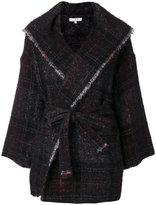 IRO check frayed edge coat - women - Cotton/Polyamide/Mohair/Alpaca - 34
