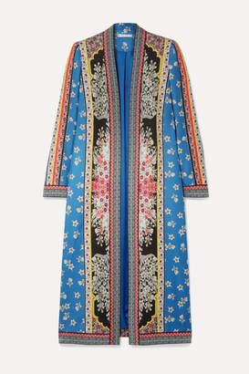 Alice + Olivia Alice Olivia - Linoa Jacquard-trimmed Printed Crepe De Chine Kimono - Blue