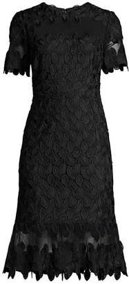 Elie Tahari Venus Embroidery A-Line Dress