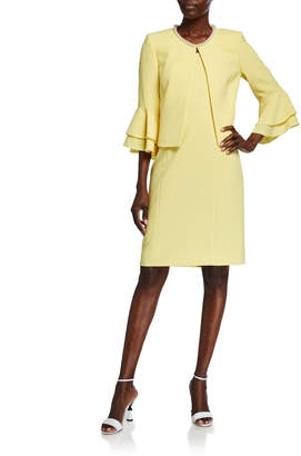 Tahari ASL Ruffle-Sleeve Open Jacket & Dress Set
