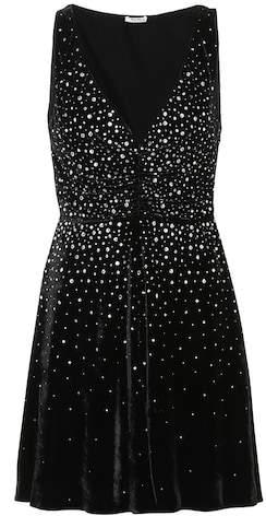 Miu Miu Crystal-embellished velvet dress