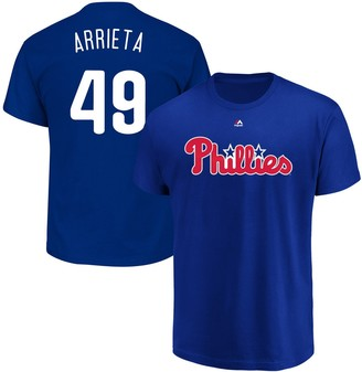 Majestic Men's Jake Arrieta Royal Philadelphia Phillies Official Name & Number T-Shirt