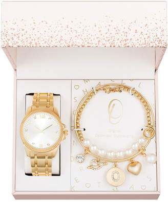 ALEXIS BENDEL Alexis Bendel O Initial Womens Gold Tone 3-pc. Watch Boxed Set-7588g-42-B27