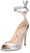 Gianvito Rossi Metallic Leather Ankle-Wrap Pump, Silver