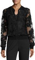 T Tahari Brittany Illusion Floral Jacket, Black