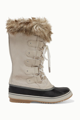 Sorel Joan Of Arctic Faux Fur-trimmed Waterproof Suede And Rubber Boots - Off-white