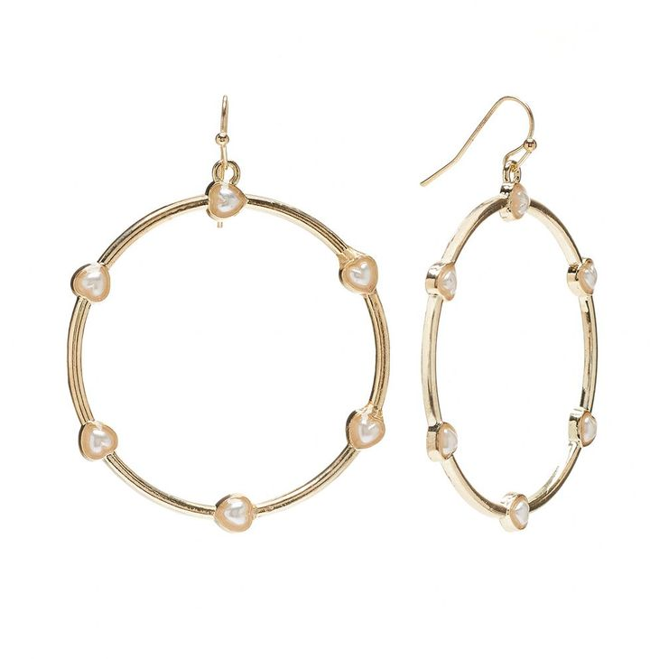 Candies Candie's ® gold tone simulated pearl heart hoop drop earrings