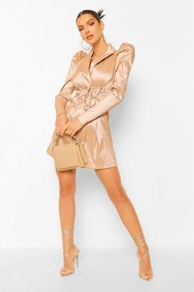 boohoo Taffeta Puff Sleeve Tie Front Blazer Dress